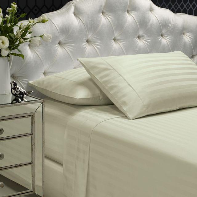 (QUEEN) Royal Comfort 1200TC Sheet Set Damask Cotton Blend Ultra Soft Sateen Bedding  - Pebble