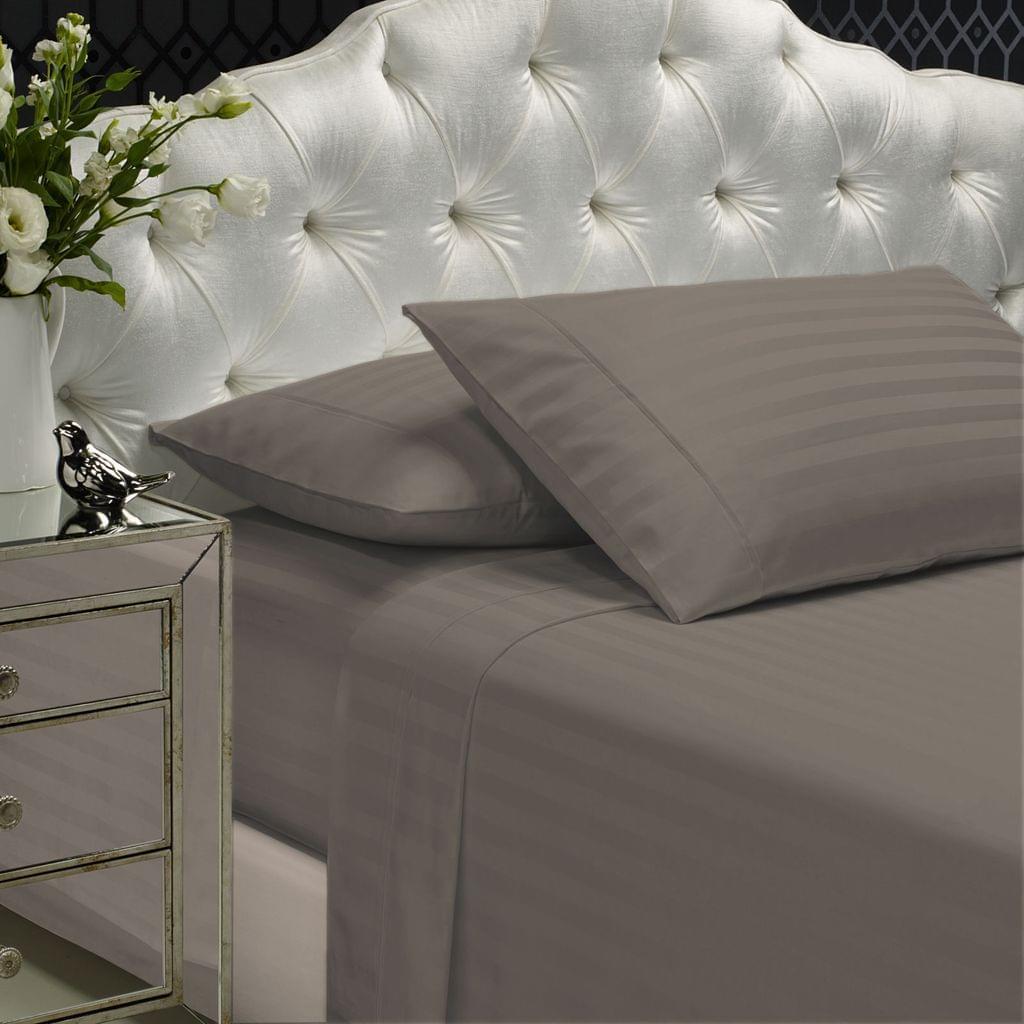 (QUEEN) Royal Comfort 1200TC Sheet Set Damask Cotton Blend Ultra Soft Sateen Bedding  - Pewter