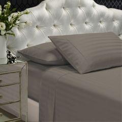 Royal Comfort 1200TC Sheet Set Damask Cotton Blend Ultra Soft Sateen Bedding - Queen - Pewter