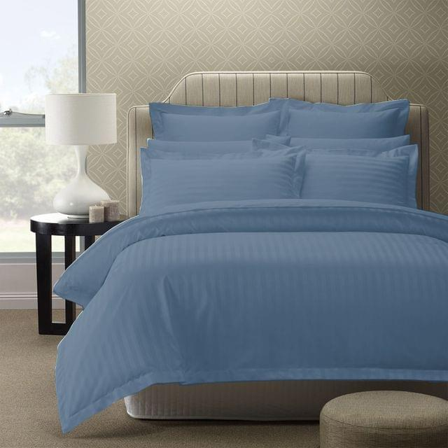 (QUEEN) Royal Comfort 1200TC Quilt Cover Set Damask Cotton Blend Luxury Sateen Bedding - Blue Fog