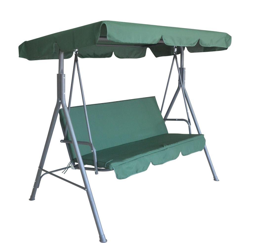 Milano Outdoor Swing Bench Seat Chair Canopy Furniture 3 Seater Garden Hammock - Dark Green