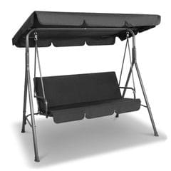 Milano Outdoor Swing Bench Seat Chair Canopy Furniture 3 Seater Garden Hammock - Black