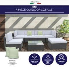 Milano 7 Piece Wicker Rattan Sofa Set Black Grey Outdoor Lounge Patio Furniture
