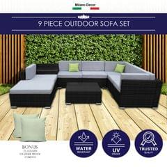 Milano 9 Piece Wicker Rattan Sofa Set Black Grey Outdoor Lounge Patio Furniture
