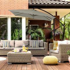 Milano 2.2M Outdoor Umbrella Cantilever Garden Deck Patio Shade Water-Resistant - Charcoal