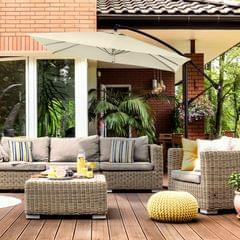Milano 2.2M Outdoor Umbrella Cantilever Garden Deck Patio Shade Water-Resistant - Grey
