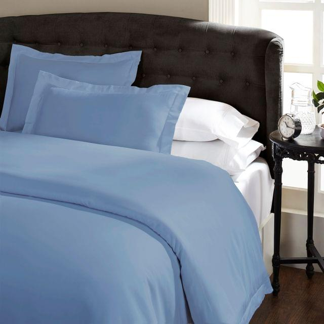 Ddecor Home 1000 Thread Count Quilt Cover Set Cotton Blend Classic Hotel Style - King - Blue Fog