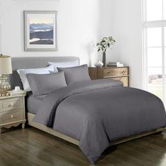 Royal Comfort Cooling Bamboo Blend Quilt Cover Set Striped 1000 Thread Count - Double - Charcoal