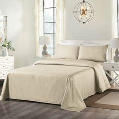 Royal Comfort Cooling Bamboo Blend Sheet Set Striped 1000 Thread Count Pure Soft - Double - Sand