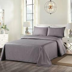 Royal Comfort Cooling Bamboo Blend Sheet Set Striped 1000 Thread Count Pure Soft - Double - Charcoal
