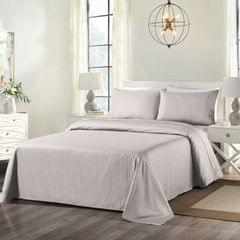 Royal Comfort Cooling Bamboo Blend Sheet Set Striped 1000 Thread Count Pure Soft - Queen - Silver Grey