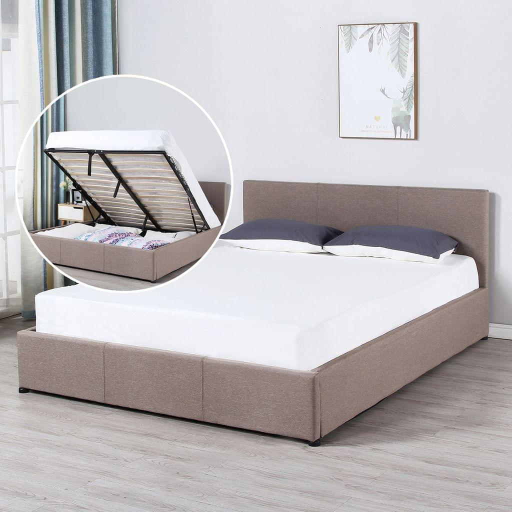 (KING) Milano Luxury Gas Lift Bed Frame And Headboard - Beige