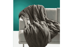 Sunbeam Sherpa Fleece Grey Heated Throw