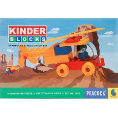 Peacock Kinder Blocks Aeroplane & Helicopter Set