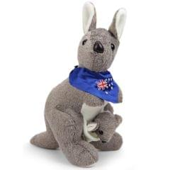Dimpy Stuff Kangroo With Baby Stuff Toy Multi Color