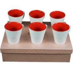 Soogo Luxury Collection Tea and Coffee Cup Exquisite set of 6 White and Red Color Design 3