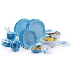 Varmora 36 pcs Microwave Safe Dinner Set, Sky Blue
