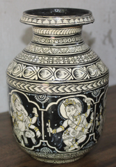 Vase with Ganesha in Black and White - Pattachitra Fusion