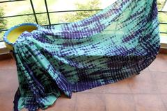 Shibori Mul Cotton Saree - Green & Indigo