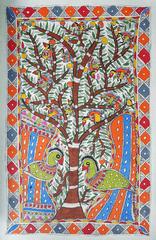 Madhubani Painting - Tree of Life with Birds