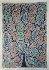 Madhubani Painting - Tree of Life with Birds - Partially  coloured