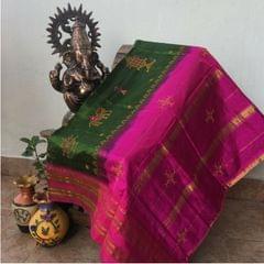 Kasuti Work - On Narayanpet Silk Saree - Green and Pink