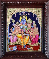 Shiva, Parvati with Ganesha and kartikeya - Tanjore painting