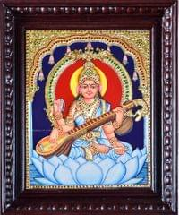 Saraswati in White - Tanjore Painting