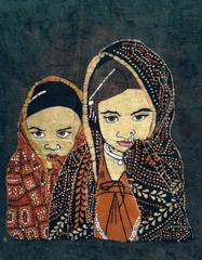 Baatik Painting - Two Tribal Sisters