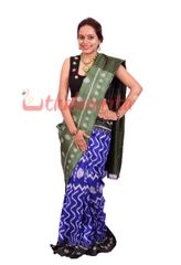 Ikkat Saree In Purple  And Green - Pure Mulberry Silk