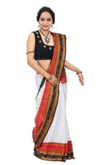White Sachipar Saree with Red and Black Border