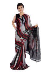 Odisha's Kargil Kumbha Saree In Grey With Maroon And Black Stripes