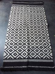 """Black and White Kharad """"Rug"""" with Squares"""