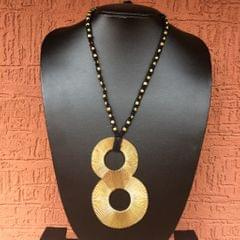 """Brass Necklace"" - with Infinity Pendant in Black Thread"