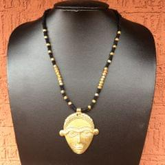Brass Necklace With Tribal Pendant in Black Thread