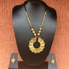 Brass Necklace With Chakra Pendant In Black Thread With Earrings