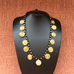 Brass Necklace With Spiral Coins