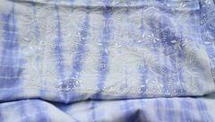 Chikankaari on Shibori Mul Kurta - Blue