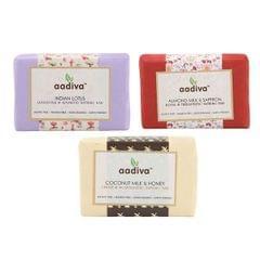 Fresh & Delicate Soap Combo - Indian Lotus | Almond Milk & Saffron | Coconut Milk & Honey - 300 gms