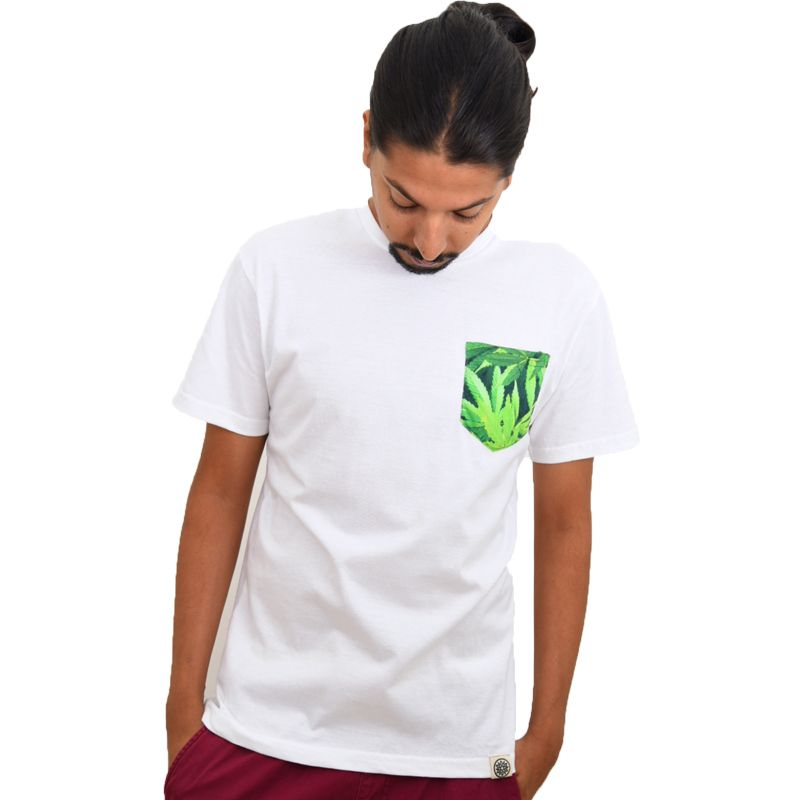 White Cannabis Printed Pocket Eco-Friendly Men's T-shirt