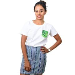 White Cannabis Printed Pocket Eco-Friendly Women's T-shirt