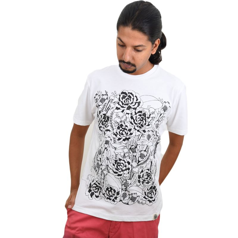 White Floral Printed Men's T-shirt