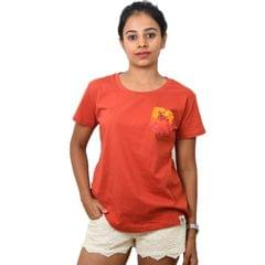 Rust Red Maple Printed Pocket Women's T-shirt