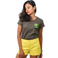 Olive Green Coffee Printed Pocket Women's T-shirt