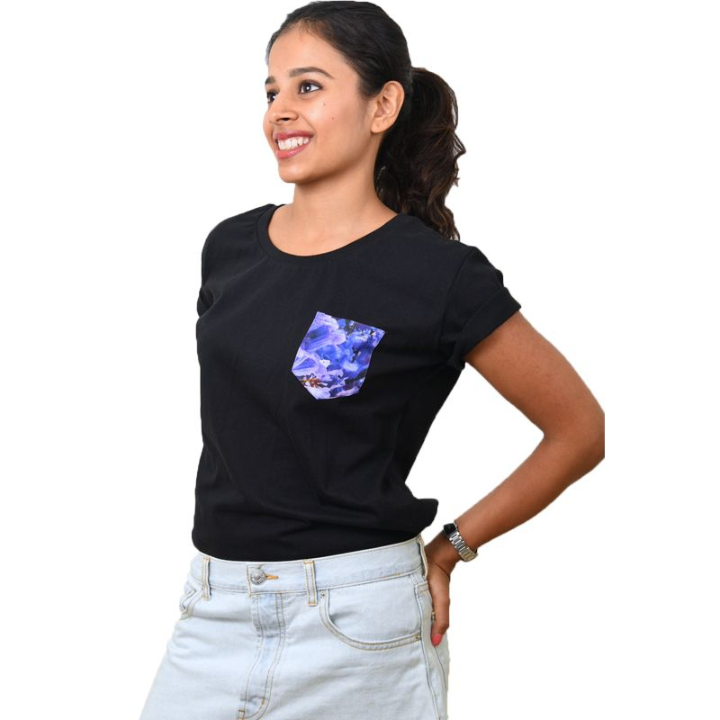 Black Jacaranda Printed Pocket T-shirt