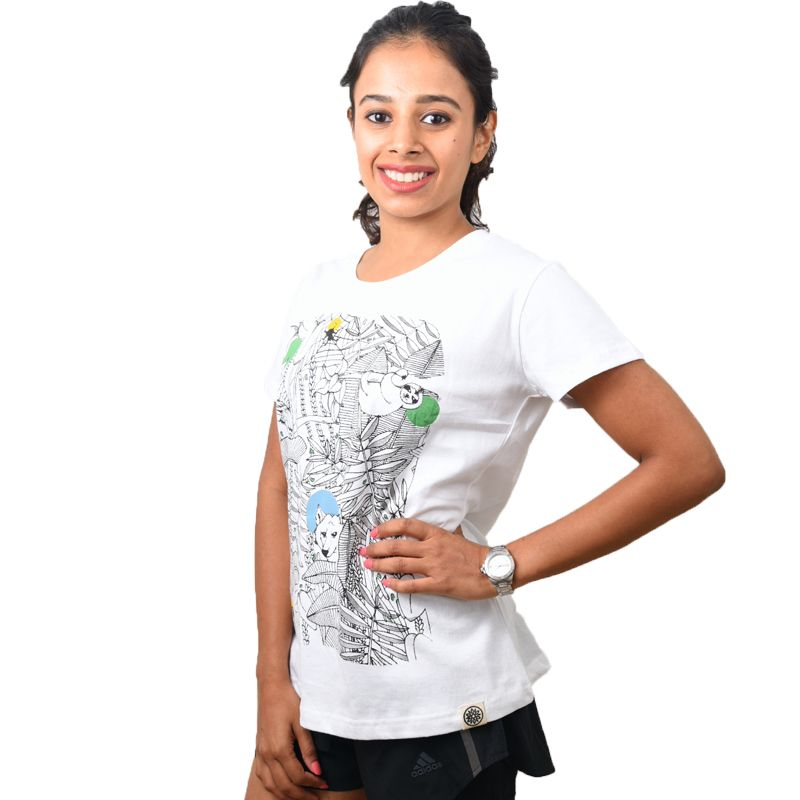 White Forest Printed Women's T-shirt