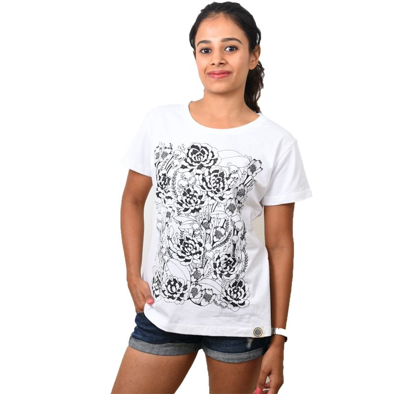 White Floral Printed Women's T-shirt