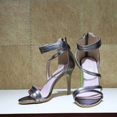 Grey Strap High Heels For Women