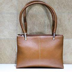 Brown Solid Handbag For Women