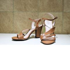 Brown Ankle Strap Block Heels For Women